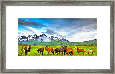 Icelandic Horses In Iceland Painting With Vibrant Colors Framed Print