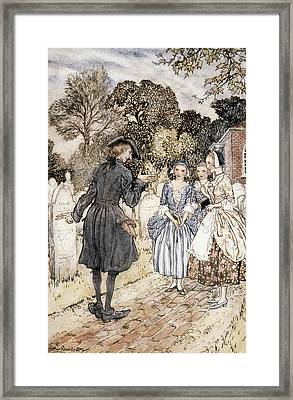Ichabod Crane And Damsels Watercolor Framed Print