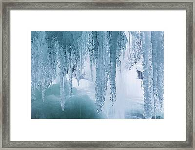 Icicles On Freezing Waterfall Framed Print by Dr Juerg Alean