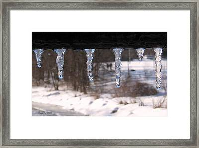 Framed Print featuring the photograph Icicles On The Bridge by Nina Silver