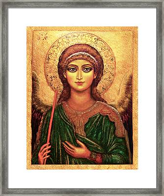 Framed Print featuring the mixed media Icon Angel by Ananda Vdovic