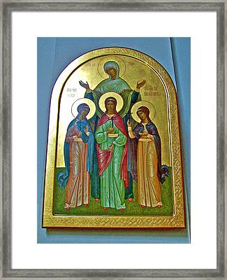 Icon Inside Chesme Church Built By Catherine The Great In Saint  Petersburg-russia Framed Print