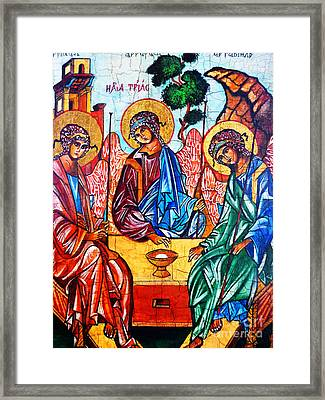Icon Of The Holy Trinity Framed Print by Ryszard Sleczka