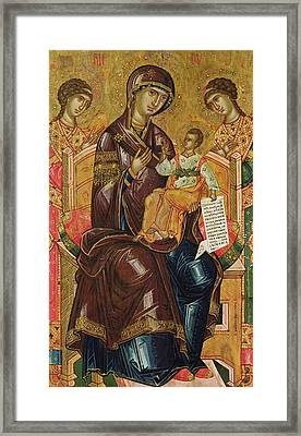 Icon Of The Virgin And Child With Archangels And Prophets Framed Print by Longin