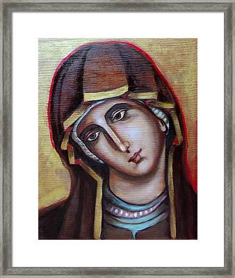 Framed Print featuring the painting Icon Of Virgin Mary by Irena Mohr