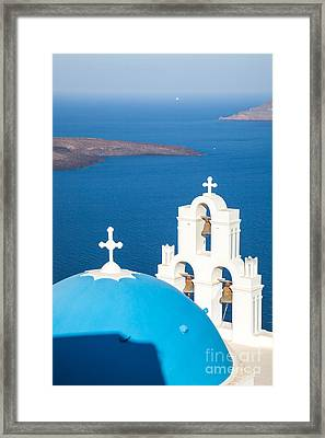 Iconic Blue Cupola Overlooking The Sea Santorini Greece Framed Print by Matteo Colombo