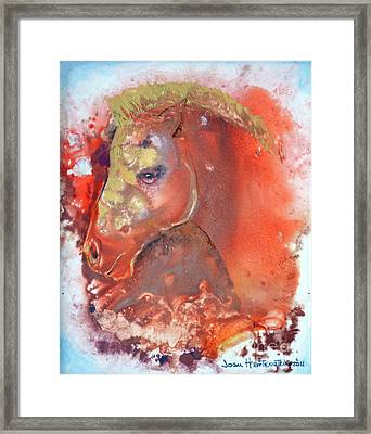 Framed Print featuring the painting Iconic Horse Head by Joan Hartenstein