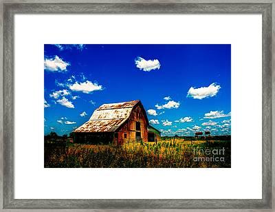Iconic Kansas Red Barn Framed Print by JC Kirk