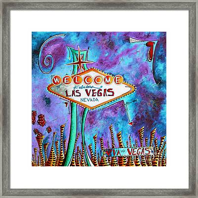 Iconic Las Vegas Welcome Sign Pop Art Original Painting By Megan Duncanson Framed Print by Megan Duncanson