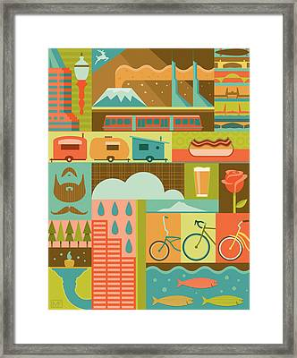 Iconic Portland Framed Print by Mitch Frey