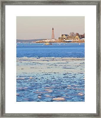 Icy Day On Marblehead Harbor Framed Print by Toby McGuire