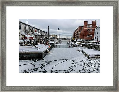 Icy Harbor Day Framed Print by Joe Faragalli