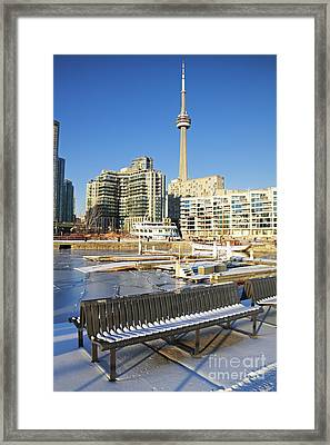 Icy Harbourfront Framed Print by Charline Xia