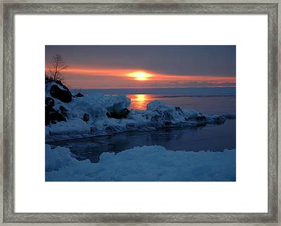 Framed Print featuring the photograph Icy Lake Superior Sunrise by Sandra Updyke