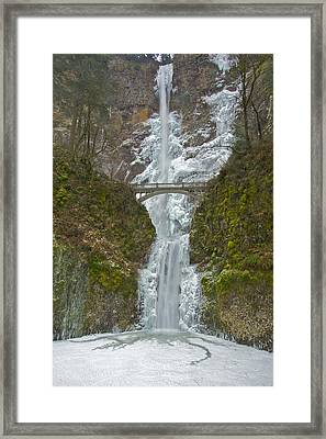 Framed Print featuring the photograph Icy Multnomah Falls 120713a by Todd Kreuter
