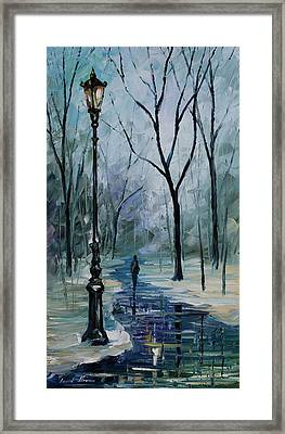 Icy Path - Palette Knife Oil Painting On Canvas By Leonid Afremov Framed Print by Leonid Afremov