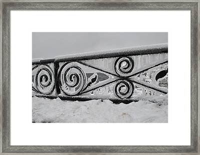 Icy Railing Framed Print by Mark Alan Perry