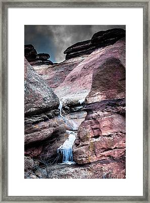 Icy Red Rocks  Framed Print