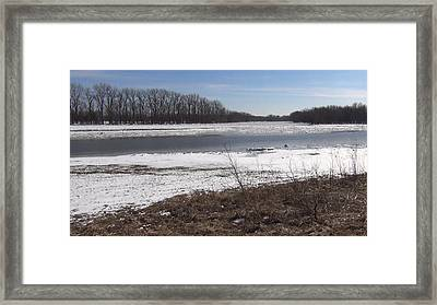 Framed Print featuring the photograph Icy Wabash River by Tony Mathews
