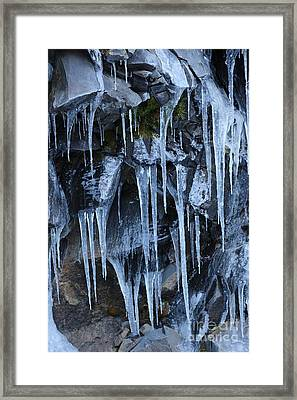Icycles On Cliff Framed Print by Carol Groenen