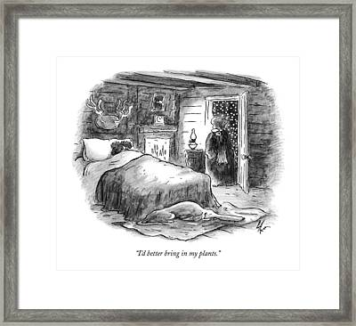 I'd Better Bring In My Plants Framed Print by Frank Cotham