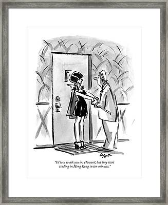 I'd Love To Ask Framed Print by Lee Lorenz