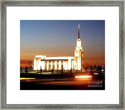 Twin Falls Temple At Night Framed Print by Jenny Wood