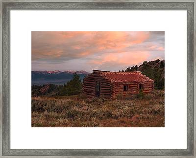 Idaho Pioneer Historical Cabin Framed Print by Leland D Howard