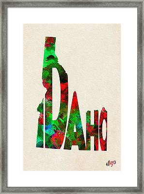 Idaho Typographic Watercolor Map Framed Print