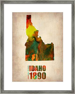 Idaho Watercolor Map Framed Print