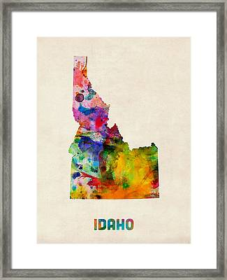 Idaho Watercolor Map Framed Print by Michael Tompsett