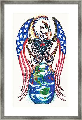 Idealistic Eagle With A Blue Egg Framed Print by Melinda Dare Benfield