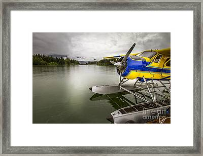 Idle Float Plane At Juneau Airport Framed Print by Darcy Michaelchuk
