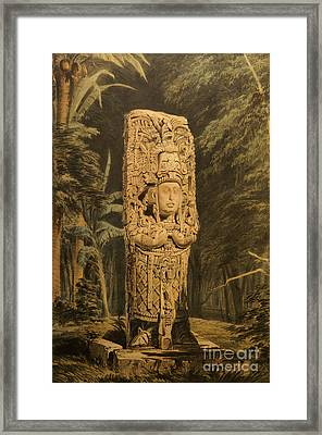 Idol At Copan By Frederick Catherwood Framed Print by John  Mitchell