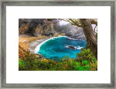 Idyllic Cove-1a. Mc Way Falls Julia Pfeiffer State Park - Big Sur Central California Coast Spring Framed Print by Michael Mazaika
