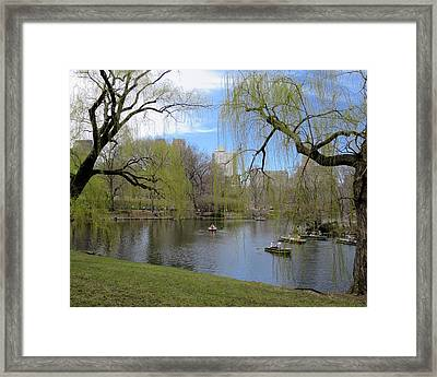 Idyllic Spring Day In Central Park Framed Print by Muriel Levison Goodwin