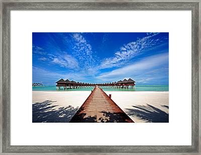 Idyllic Symmetry. Water Villas. Maldives Framed Print by Jenny Rainbow