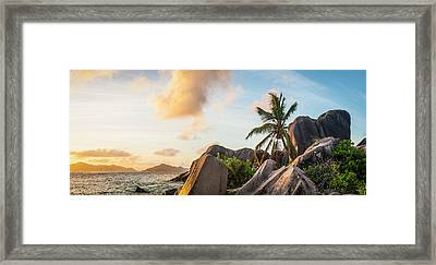 Idyllic Tropical Island Sunset Over Framed Print by Fotovoyager