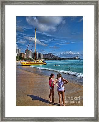 Idyllic Waikiki Beach No 2 Framed Print by David Smith
