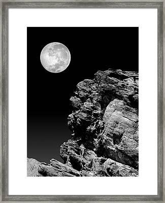 Idyllwild Full Moon And A Rock Night Scene Framed Print