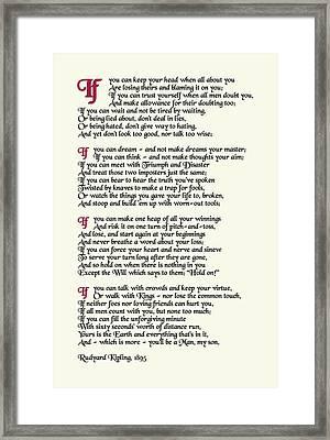 If By Rudyard Kipling  Framed Print
