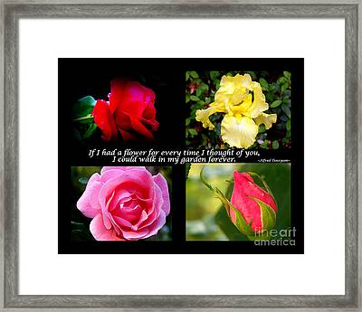 If I Had A Flower Collage Framed Print by Kathy  White