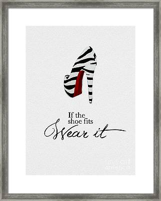 If The Shoe Fits Zebra Framed Print by Rebecca Jenkins