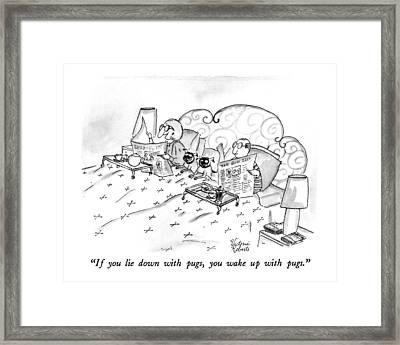 If You Lie Down With Pugs Framed Print by Victoria Roberts