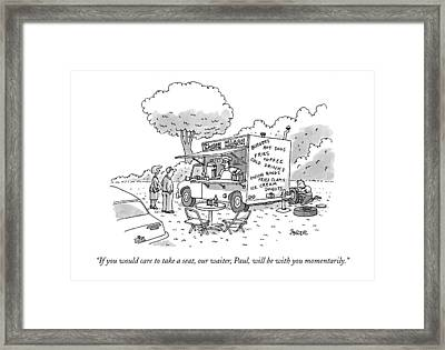 If You Would Care To Take A Seat Framed Print