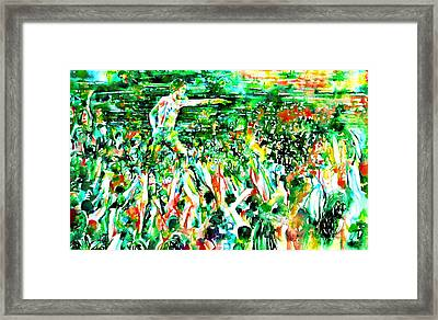 Iggy Pop Stadium Live Concert - Watercolor Painting Framed Print by Fabrizio Cassetta