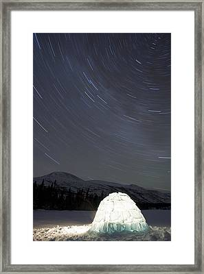 Igloo And Star Trails, Kusawa Lake Framed Print by Peter Mather