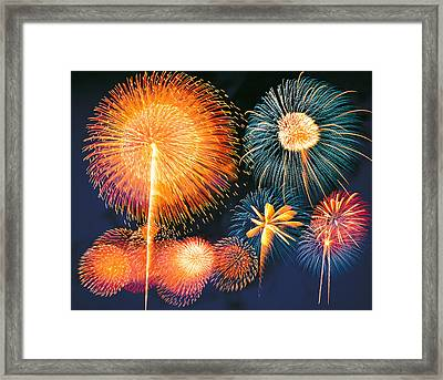 Ignited Fireworks Framed Print