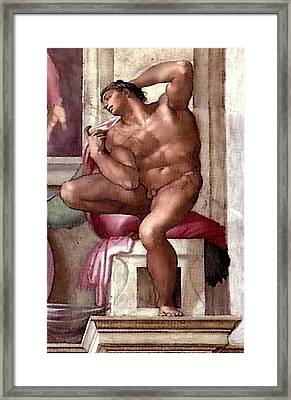 Ignudo Number Eight Of 1511 Framed Print by Michelangelo Buonarroti