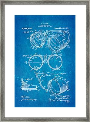 Ihrcke Welding Goggles Patent Art 1917 Blueprint Framed Print by Ian Monk